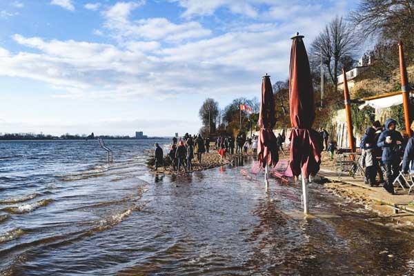 Strandperle Hochwasser