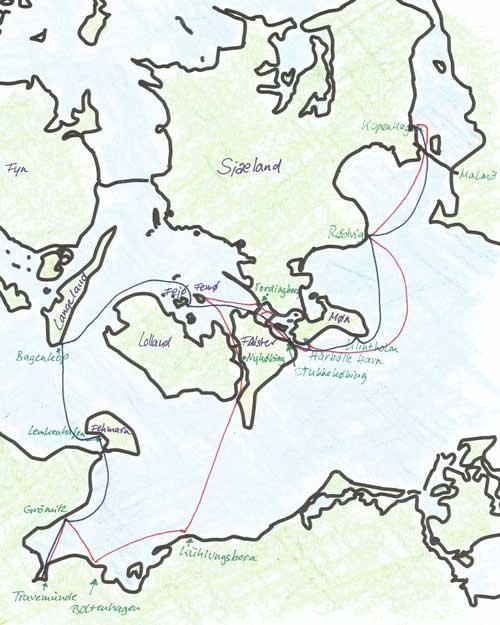 Karte Rückfahrt von Kopenhagen