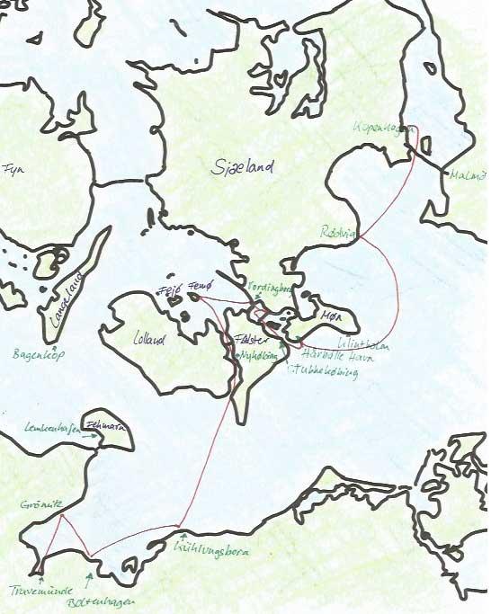 Karte Hinfahrt nach Kopenhagen