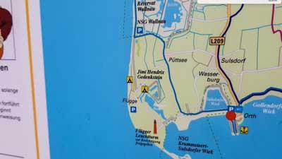 Jimmy Hendrix Gedenkstein auf Karte von Fehmarn